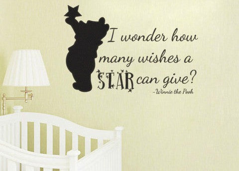 "Pooh How Many Wishes A Star Can Give Wall Decal Sticker 19""w x 12.25""h"