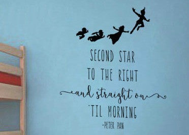 "Peter Pan Second Start To The Right And Straight On Til Morning Wall Decal Sticker 12""W x 12""H"