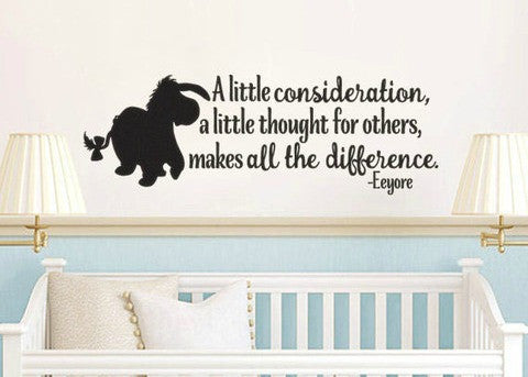 "Pooh Eeyore Consideration Thought For Others Wall Decal Sticker 37""w x 12.5""h"
