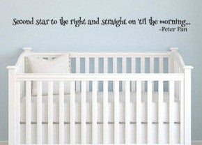 Peter Pan Inspired Second Star To The Right Vinyl Wall Decal Sticker