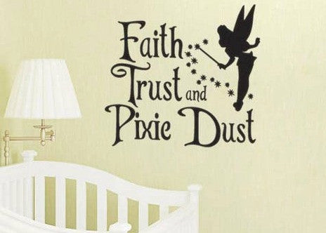 Lucky Girl Decals Wall Decor Sticker Quote Tinkerbelle Inspired Faith Trust Pixie Dust Vinyl Wall Decal Sticker
