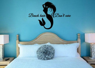 "Mermaid Beach Hair Don't Care Wall Decal Sticker 18.6""w x 12.5""h"