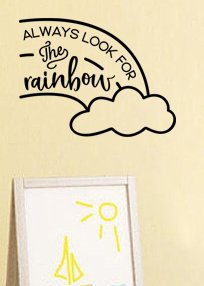 "Lucky Girl Decals Wall Decor Sticker Quote Lucky Girl Decals Wall Decor Sticker Quote Lucky Girl Decals Inspired By Winnie The Pooh Always Look For The Rainbows Vinyl Wall Decal Sticker Cloud 16"" W X 12"" H - Lucky Girl Decals"