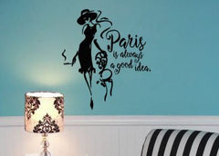 "Lucky Girl Decals Wall Decor Sticker Quote Lucky Girl Decals Wall Decor Sticker Quote Lucky Girl Decals Inspired By Audrey Hepburn 21"" W X 24"" H Vinyl Wall Decal Sticker Paris Is Always A Good Idea - Lucky Girl Decals"