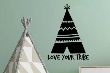 "Love Your Tribe With Boho Bohemian Tee Pee Graphic Wall Decal Sticker 16.5""w x 12""h"