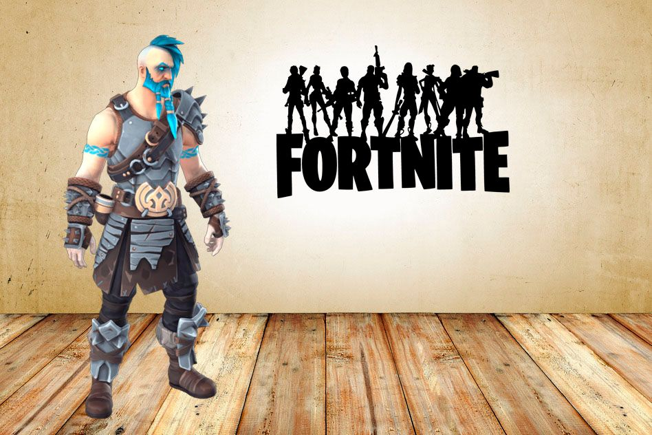 "Inspired by Fortnite Players Heros Standing On Game Title For Gamer Wall Decal Sticker 18.3"" W By 12"" H"