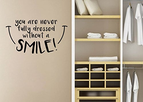 "Lucky Girl Decals Wall Decor Sticker Quote Lucky Girl Decals Wall Decor Sticker Quote Lucky Girl Decals Mary Poppins Wall Decal Sticker You'Re Never Fully Dressed Without A Smile 21.9""W X 12""H - Lucky Girl Decals"