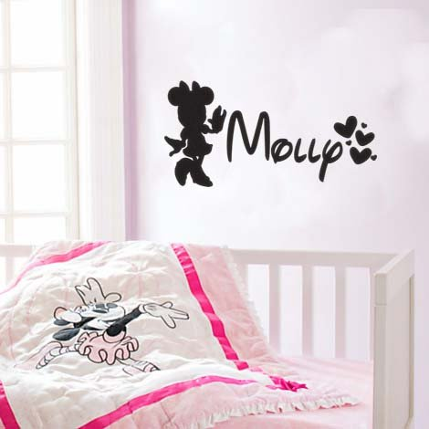 Inspired by Minnie Mouse Personalized Custom Name Vinyl Wall Decal Sticker
