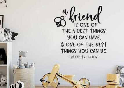 "Lucky Girl Decals Wall Decor Sticker Quote Inspired By Winnie The Pooh A Friend Is One Of The Nicest Things To Have And One Of The Best Things You Can Be Vinyl Wall Decal Sticker 20.8"" W X 21"" H"