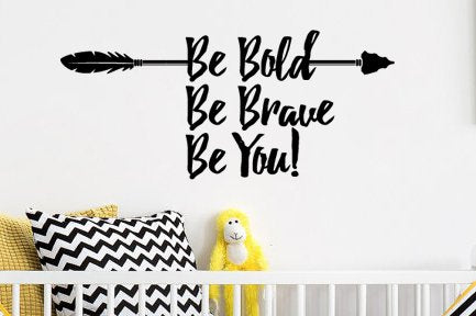 "Lucky Girl Decals Wall Decor Sticker Quote Lucky Girl Decals Wall Decor Sticker Quote Be Brave Be Bold Be You Vinyl Wall Decal Sticker With Arrow 26.8"" W X 12"" H For Bedroom Or Playroom - Lucky Girl Decals"