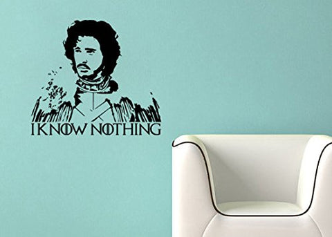 "Game Of Thrones Parody Jon Snow I Know Nothing Wall Decal Sticker 13.65""w x 12""h"