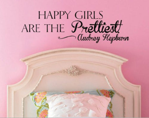 "Happy Girls Are The Prettiest Audrey Hepburn Wall Decal Sticker 20""w x 6""h"