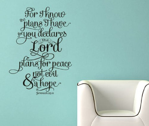 "Plans I Have For You Wall Decal Sticker 12.5""w x 17.6""h"