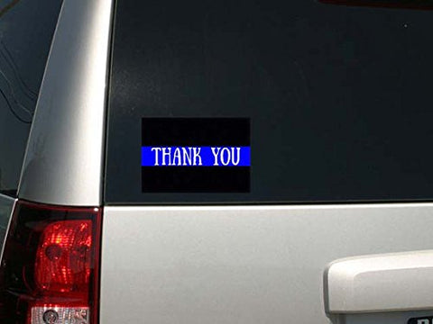 "Police Law Enforcement Support Thin Blue Line Thank You Car Decal Sticker 6""w x 4""h"