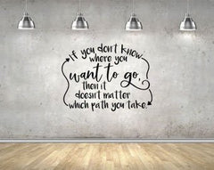 Lucky Girl Decals Wall Decor Sticker Quote Alice In Wonderland If You Don'T Know Where You Want To Go Then It Doesn'T Matter Which Path You Take Vinyl Wall Decal Sticker 28 W X 21 H - Lucky Girl Decals