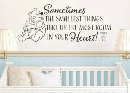 "Winnie The Pooh Sometimes The Smallest Things Wall Decal Sticker 30.3""w x 12.25h"
