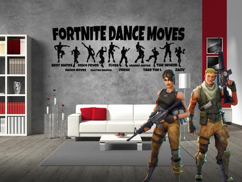 "Inspired by Fortnite Dance Moves For Gamer Wall Decal Sticker 35.2"" W By 12"" H"