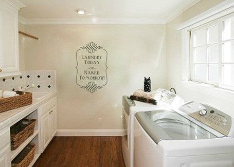 "Laundry Today Or Naked Tomorrow Wall Decal Sticker 8""w x 12.5""h"