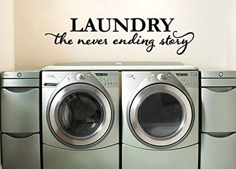 "Laundry The Never Ending Story Washer Dryer Room Wall Decal Sticker 24.3"" W X 6"" H"