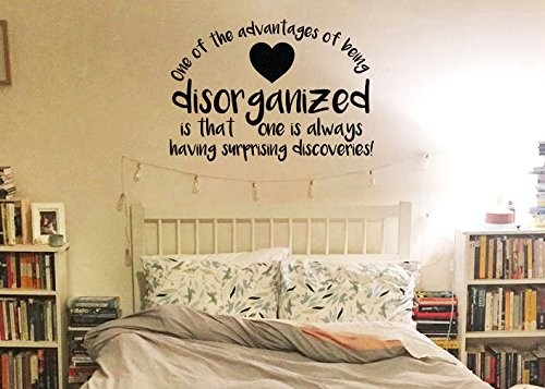 "Lucky Girl Decals Wall Decor Sticker Quote Lucky Girl Decals Inspired By Winnie The Pooh One Of The Advantages Of Being Disorganized Is That One Is Always Having Surprising Discoveries A.A. Milne Vinyl Wall Decal Sticker 17.2"" W X 12"" H - Lucky Girl Decals"