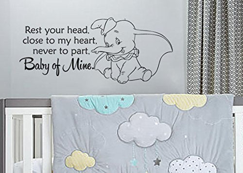 "Lucky Girl Decals Wall Decor Sticker Quote Dumbo Baby Mine Vinyl Wall Decal Sticker 28.8""W X 12.5""H For Nursery Or Children'S Room - Lucky Girl Decals"