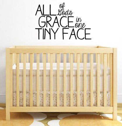 "Lucky Girl Decals Wall Decor Sticker Quote Xl All Of God'S Grace In One Tiny Face Vinyl Wall Decal Sticker For Baby Nursery 32""W X 21""H V2"
