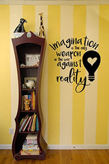 Lucky Girl Decals Wall Decor Sticker Quote Alice In Wonderland Imagination Is The Only Weapon In The War Against Reality Vinyl Wall Decal Sticker 19.6 W X 21.15 H V2 - Lucky Girl Decals