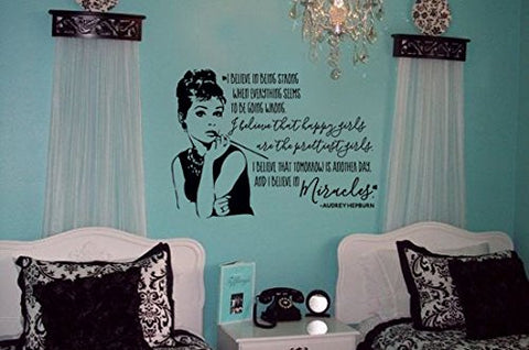 "Audrey Hepburn Quote Art I Believe In Being Strong When Everything Seems To Be Going Wrong, I Believe That Happy Girls Are The Prettiest Wall Decal Sticker 30""W x 21""H"