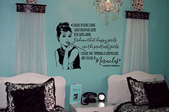"Lucky Girl Decals Wall Decor Sticker Quote Audrey Hepburn Quote 30""W X 21""H Vinyl Wall Decal Sticker Decor Art I Believe In Being Strong When Everything Seems To Be Going Wrong, I Believe That Happy Girls Are The Prettiest, I Believe That Tomo - Lucky Girl Decals"