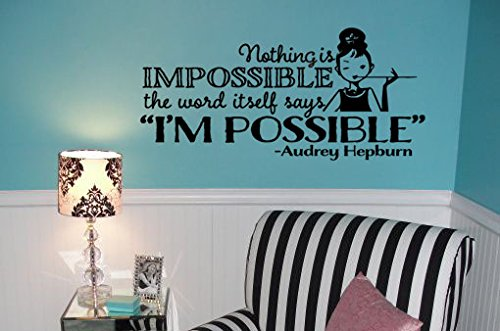 "Lucky Girl Decals Wall Decor Sticker Quote Lucky Girl Decals Wall Decor Sticker Quote Audrey Hepburn 25.7"" W X 12"" H Vinyl Wall Decal Sticker Nothing Is Impossible The Word Itself Says I'M Possible Teen Girl'S Room - Lucky Girl Decals"