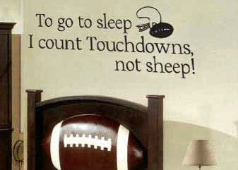 "To Go To Sleep I Count Touchdowns Not Sheep Wall Decal Sticker 30""w x 13""h"