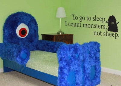 "To Go To Sleep I Count Monsters Not Sheep Wall Decal Sticker 39""w x 13""h"