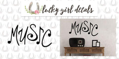 Lucky Girl Decals Wall Decor Sticker Quote Lucky Girl Decals Vinyl Wall Decor Sticker Music Notes Word Art 22.9 Inches Wide By 12 Inches High - Lucky Girl Decals