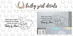 Lucky Girl Decals Wall Decor Sticker Quote Lucky Girl Decals Vinyl Wall Decor Sticker Dumbo Lullaby Rest Your Head Close To My Heart Never To Part Baby Of Mine 28.8 Inches Wide By 12.5 Inches High For Nursery Or Baby Childs Room - Lucky Girl Decals