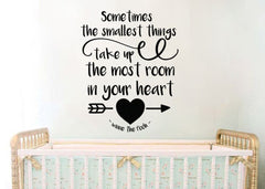 "Lucky Girl Decals Wall Decor Sticker Quote Inspired By Winnie The Pooh Sometimes The Smallest Things Take Up The Most Room In Your Heart V2 Vinyl Wall Decal Sticker 21"" W X 26.3"" H"