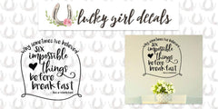 Lucky Girl Decals Wall Decor Sticker Quote Lucky Girl Decals Vinyl Wall Decor Inspired By Alice In Wonderland Quote Why Sometimes I'Ve Believed As Many As Six Impossible Things Before Breakfast 20.7 Inches Wide By 21 Inches High V2 - Lucky Girl Decals