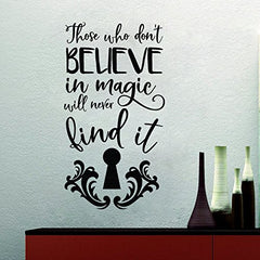 Lucky Girl Decals Wall Decor Sticker Quote Alice In Wonderland Those Who Don'T Believe In Magic Will Never Find It Vinyl Wall Decal Sticker Keyhole 12 W X 22.4 H - Lucky Girl Decals