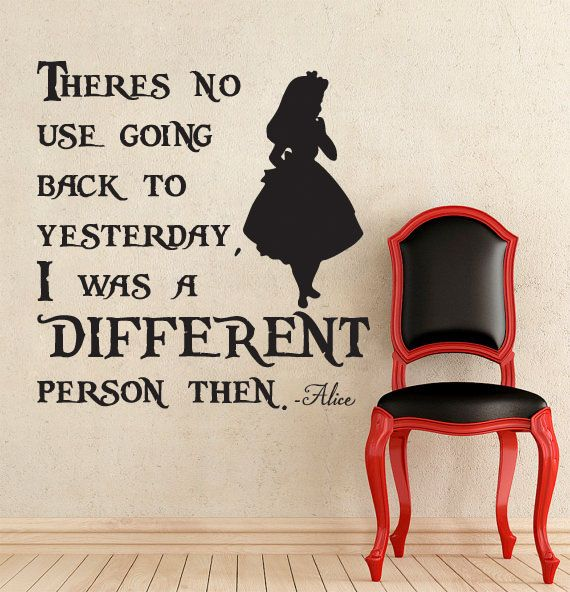 Lucky Girl Decals Wall Decor Sticker Quote Alice In Wonderland Inspired I Was A Different Person Then Vinyl Wall Decal Sticker - Lucky Girl Decals