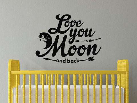"Love You To The Moon And Back Children's Room Baby Nursery Wall Decal Sticker 28.5"" W By 21"" H"