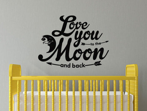 "XL Love You To The Moon And Back Children's Room Baby Nursery Wall Decal Sticker 28.5"" W X 21"" H"