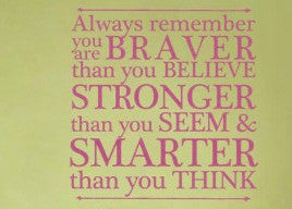 "Winnie The Pooh You Are Braver Than You Believe, Stronger Than You Seem Wall Decal Sticker 13""w x 13.40""h"
