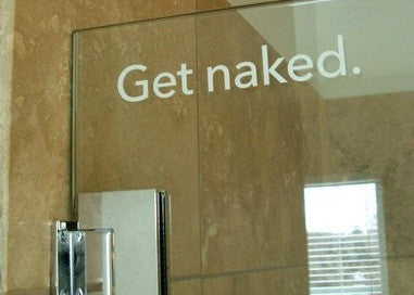 "Get Naked Etched Glass Wall Decal Sticker 15""w x 2""h"