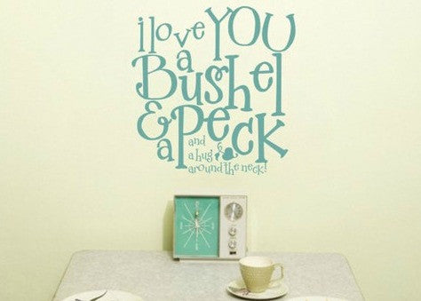 "I Love You A Bushel And A Peck Kiss Around The Neck Wall Decal Sticker 12""w x 12.5""h"