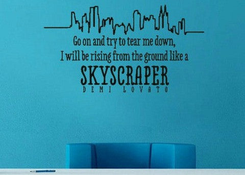 "Skyscraper Demi Lovato Wall Decal Sticker 23.7""w x 13""h"