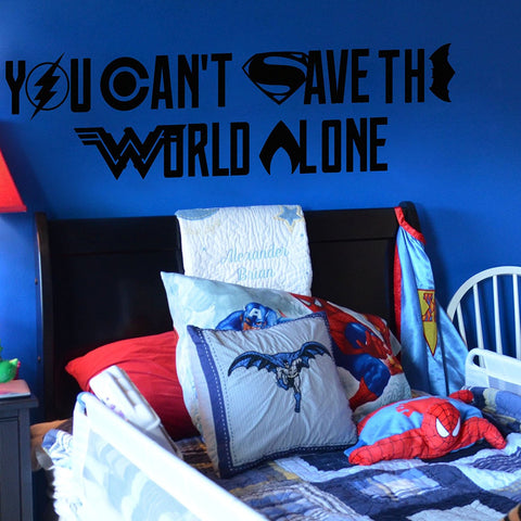 "By Justice League You Can't Save The World Alone Wall Decal Symbols Logos 45.5"" W by 12"" H"