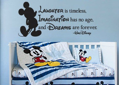 "Disney Laughter Imagination Dreams Wall Decal Sticker 27.5""w x 12.25h"