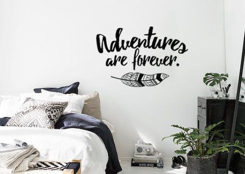 "Adventures Are Forever Boho Bohemian Style With Feather Wall Decal Sticker 19""w x 12""h"
