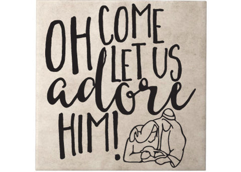 "Oh Come Let Us Adore Him Christmas Decal Stickers Great For Tiles 9.6""w x 10.3""h"