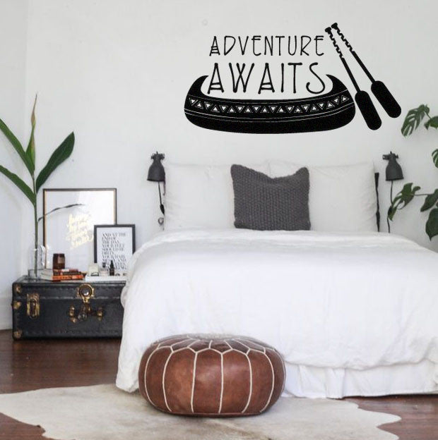 Adventure Awaits Boho Bohemian Style Wall Decal Sticker with Canoe / Oars