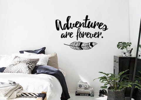 "Adventures Are Forever Wall Decal Sticker Boho Bohemian Style with Feather 19""w x 12""h"